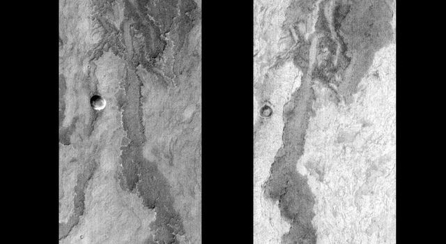 This pair of images released on June 22, 2004 by NASA's 2001 Mars Odyssey shows part of Arsia Mons on Mars during the daytime (left) and at nighttime (right).