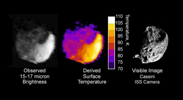 This image from NASA's Cassini spacecraft shows thermal radiation from the day and night sides of Saturn's moon Phoebe.