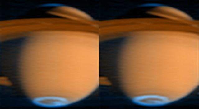 NASA's Cassini spacecraft has obtained new images of Saturn's auroral emissions, which are similar to Earth's Northern Lights.