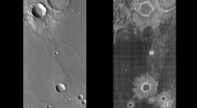 These image pairs from NASA's 2001 Mars Odyssey, released June 24, 2004, presented focus on a single surface feature on Mars as seen in both the daytime and nighttime by the infrared THEMIS camera.