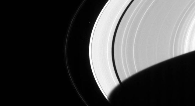 Saturn hosts its own miniature solar system, with an entourage of more than 30 moons. This image from NASA's Cassini spacecraft shows Saturn's A and F rings.