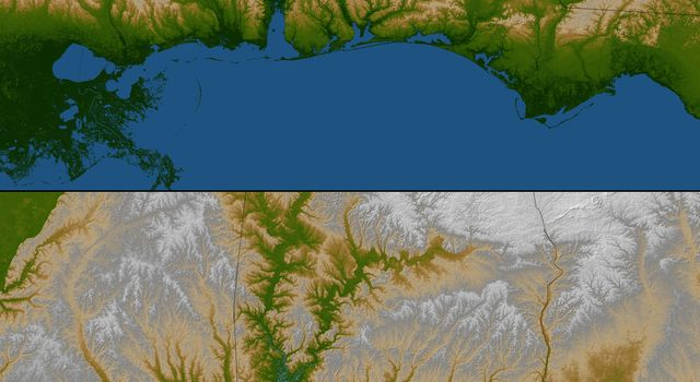 Gulf Coast, Shaded Relief and Colored Height