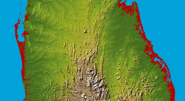 The topography of the island nation of Sri Lanka is well shown in this color-coded shaded relief map generated with digital elevation data from NASA's Shuttle Radar Topography Mission.