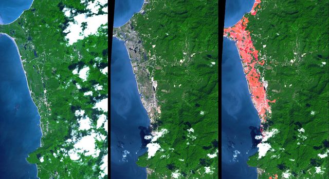 This image from NASA's Terra spacecraft shows the Indian Ocean coastline north of Phuket, Thailand is a major tourist destination that was in the path of the tsunami produced by a giant offshore earthquake on December 26, 2004.