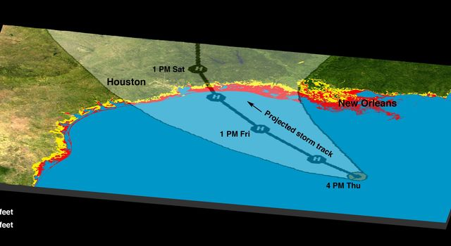 The Gulf Coast from the Mississippi Delta through the Texas coast is shown in this satellite image from NASA's Terra spacecraft, and the predicted storm track for Hurricane Rita acquired in February, 2000.