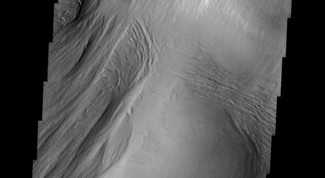 This image released on July 16, 2004 from NASA's 2001 Mars Odyssey shows that eons of atmospheric dust storm activity has left its mark on Mars. Here are different amounts of yardang development on a large deposit found on the floor of Nichols.