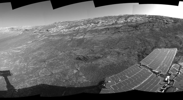 This 360-degree view of the terrain surrounding NASA's Mars Exploration Rover Opportunity was taken on the rover's 171st sol on Mars (July 17, 2004). It was assembled from images taken by the rover's navigation camera.