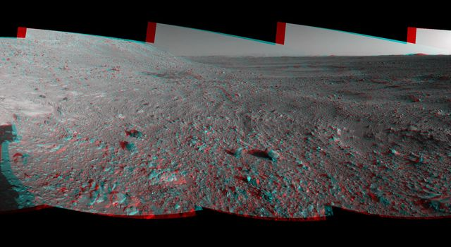 This 360-degree stereo anaglyph of the terrain surrounding NASA's Mars Exploration Rover Opportunity was taken on the rover's 189th sol on Mars. 3-D glasses are necessary to view this image.