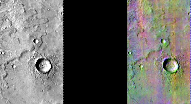 This image released on July 28, 2004 from NASA's 2001 Mars Odyssey shows a decorrelation stretch near Mare Cimmerium. Pink/magenta colors usually represent basaltic content, cyan indicates the presence of water ice clouds, while green can represent dust.