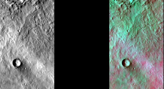 This image released on July 30, 2004 from NASA's 2001 Mars Odyssey shows a decorrelation stretch near Hesperia Planum. Pink/magenta colors usually represent basaltic dunes, cyan indicates the presence of water ice clouds, while green can represent dust.