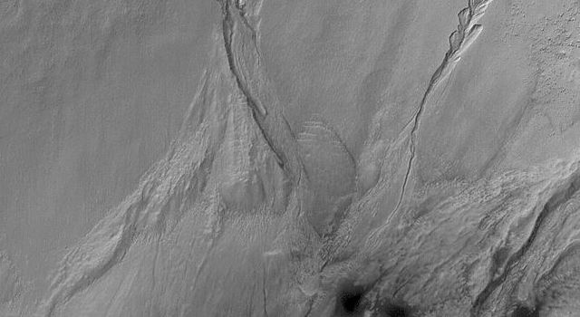 NASA's Mars Global Surveyor shows gullies formed in the wall of a south middle-latitude crater wall on Mars. The banked, curved nature of the channels in each gully are among the key indicators that a fluid may have been required to form them.