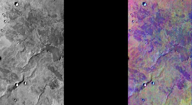 This image released on August 5, 2004 from NASA's 2001 Mars Odyssey shows a decorrelation stretch of the Solis Planum region. Pink/magenta colors usually represent basaltic dunes, cyan indicates the presence of water ice clouds and green represents dust.
