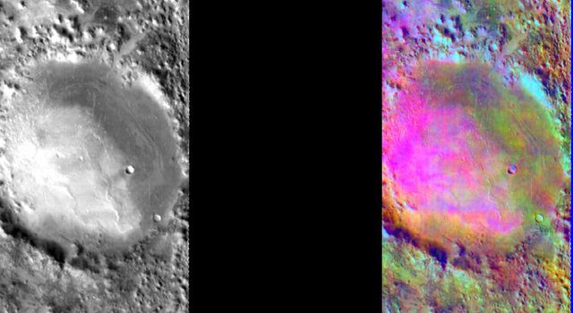 This image released on August 6, 2004 from NASA's 2001 Mars Odyssey shows a decorrelation stretch near Nili Fosse. Pink/magenta colors usually represent basaltic dunes, cyan indicates the presence of water ice clouds, while green can represent dust.