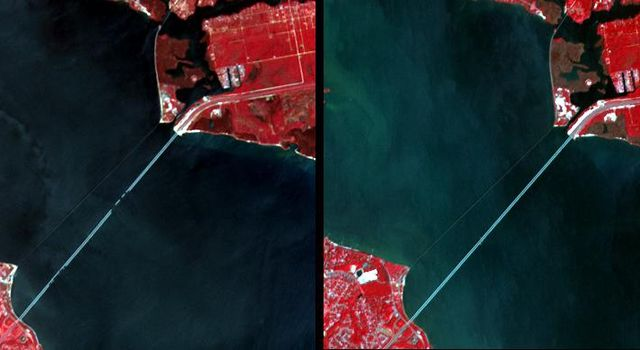 Interstate 10 across Pensacola Bay, Florida was severely damaged by Hurricane Ivan. This image was acquired by NASA's Terra satellite on September 21, 2004.