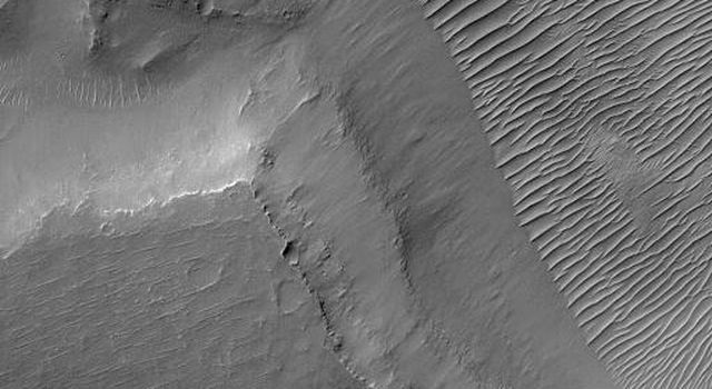 NASA's Mars Global Surveyor shows a portion of Nirgal Vallis, an ancient valley system in the Mare Erythraeum region of Mars. The valley floor is covered by large, ripple-like bedforms created by wind.
