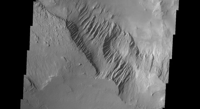 This image released on Sept 24, 2004 from NASA's 2001 Mars Odyssey shows a part of Candor Chasma on Mars. Gullies, layered rock deposits and wind etched surfaces are visible on this area.