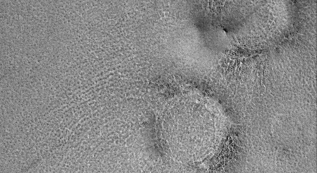 NASA's Mars Global Surveyor shows raised-rimmed, circular features sometimes described as boulder rings. These are located on the vast martian northern plains and are, basically, somewhat filled and somewhat buried meteor impact craters.