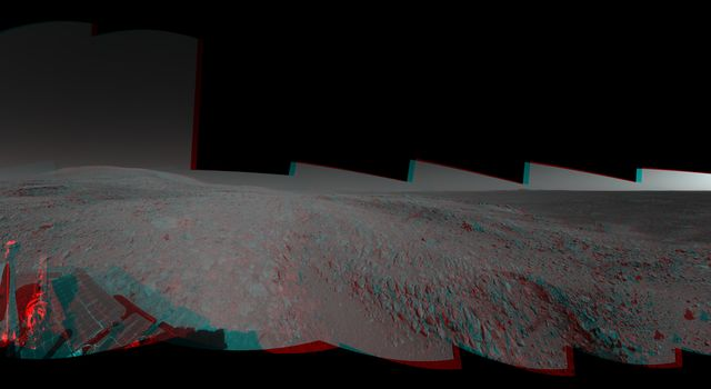 This 360-degree view combines frames taken by the navigation camera on NASA's Mars Exploration Rover Spirit during the rover's 271st martian day, or sol, on Oct. 7, 2004. 3-D glasses are necessary to view this image.