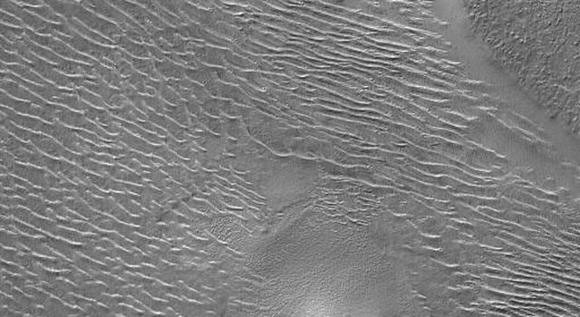 NASA's Mars Global Surveyor shows terrain in northwestern Argyre Planitia on Mars during southern autumn in August 2004. Several mesas stand high above a rippled plain.