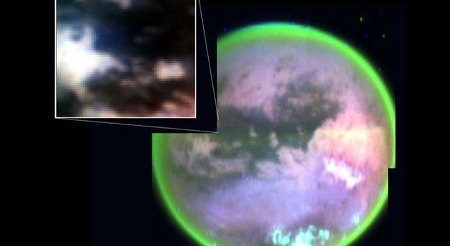 This image taken by NASA's Cassini spacecraft's visual and infrared mapping spectrometer clearly shows surface features on Titan. It also shows the landing site of Cassini's piggybacked Huygens probe.