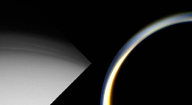 These images show two views of Titan's planet-wide stratospheric haze just before (left) and after (right) NASA's Cassini spacecraft's first close encounter with the shrouded moon.