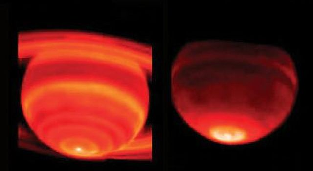 These side-by-side false-color images show Saturn's heat emission. The data were taken on Feb. 4, 2004, from the W. M. Keck I Observatory, Mauna Kea, Hawaii. The prominent hot spot at the bottom of each image is at Saturn's south pole.