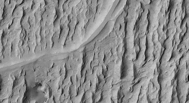 NASA's Mars Global Surveyor shows ancient channels and valleys through which liquids once flowed. In the Aeolis region of Mars, wind erosion has exposed and inverted a plethora of ancient channels, stream beds, in a fan-shaped sedimentary rock.