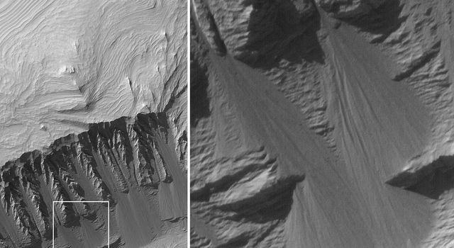 NASA's Mars Global Surveyor shows layered sedimentary rocks exposed in eastern Candor Chasma, part of the vast Valles Marineris trough system on Mars. Dry debris has cut narrow, straight chutes into the slope.