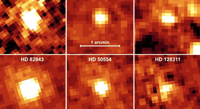 NASA's Spitzer Space Telescope recently captured these infrared images of six older stars with known planets. The yellow, fuzzy blobs are stars circled by disks of dust, or 'debris disks,' like the one that surrounds our own Sun.