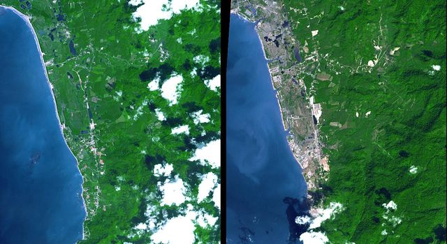 The island of Phuket on the Indian Ocean coast of Thailand is a major tourist destination and was also in the path of the tsunami that washed ashore on December 26, 2004. Images were acquired by NASA's Terra spacecraft.