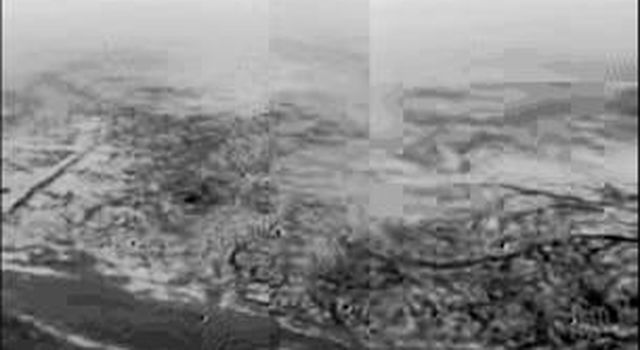 This composite was produced from images returned on January 14, 2005, by the European Space Agency's Huygens probe during its successful descent to land on Titan.