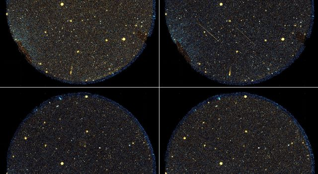 A group of six streaking objects,  the identities of which remain unknown, can be seen here flying across the telescope's sight in this image from NASA's Galaxy Evolution Explorer.
