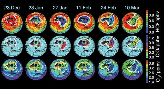 These data maps from the Microwave Limb Sounder on NASA's Aura spacecraft depict levels of hydrogen chloride, chlorine monoxide, and ozone at an altitude of approximately 19 km (490,000 ft) on selected days during the 2004-05 Arctic winter.