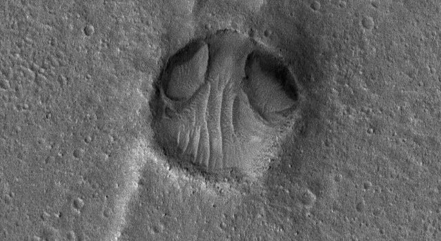 NASA's Mars Global Surveyor shows an impact crater in Chryse Planitia resemblling a bug-eyed head. Two odd depressions at the north end of the crater (the 'eyes') may have formed by wind or water erosion.