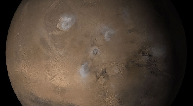 NASA's Mars Global Surveyor shows the Tharsis face of Mars in mid-February 2005.