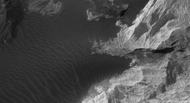 NASA's Mars Global Surveyor shows light-toned sedimentary rocks exposed by erosion in the Iani Chaos region of Mars.