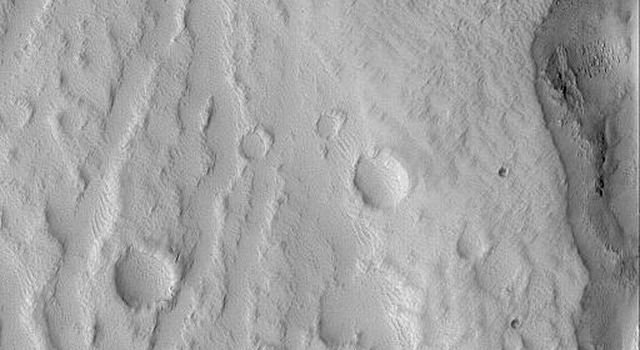 NASA's Mars Global Surveyor shows narrow channels and small impact craters on the north flank of the Elysium volcano, Hecates Tholus on Mars.