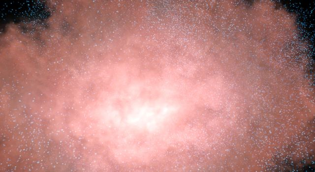 This artist's concept demonstrates that an invisible galaxy shrouded in dust can become glaringly bright when viewed in infrared light.