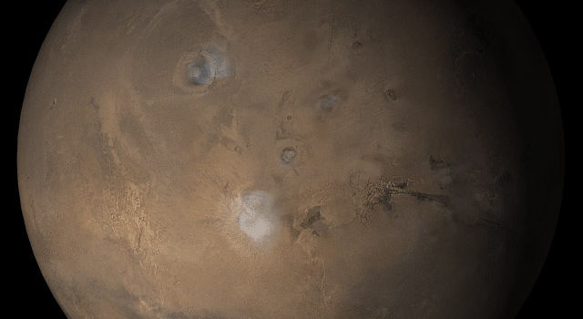 NASA's Mars Global Surveyor shows the Tharsis face of Mars in mid-March 2005.