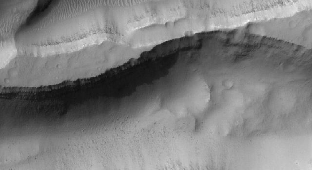 NASA's Mars Global Surveyor shows layered material in the walls of troughs in the Sirenum Fossae region of Mars. Also evident are large windblown ripples and boulders on their floors.