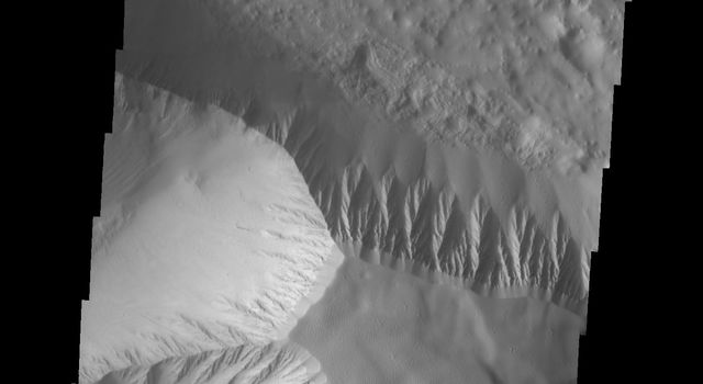 This image taken by NASA's Mars Odyssey shows Olympus Mons which contains a a feature type on Mars called a Mensa, from the Latin word for 'table.' A Mensa is a flat-topped prominence with cliff-like edges.