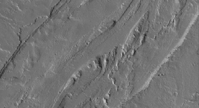 NASA's Mars Global Surveyor shows channels on the plains southeast of Olympus Mons on Mars.