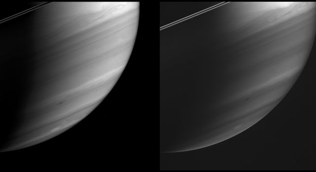 These two images, taken 10 minutes apart, demonstrate NASA's Cassini spacecraft's ability to see the different depths of Saturn's immense atmosphere, using an array of specially designed spectral filters.
