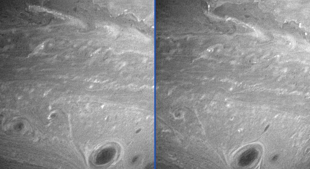 These images were taken by NASA's Cassini spacecraft on July 4 and 5, 2005, showing vortices mingling amidst other turbulent motions in Saturn's atmosphere.