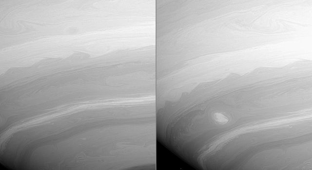 These two images from NASA's Cassini spacecraft, taken 23 minutes apart, show many vortices and turbulent wakes in Saturn's atmosphere. They also show the overall filamentary structure of the flow in the atmosphere.