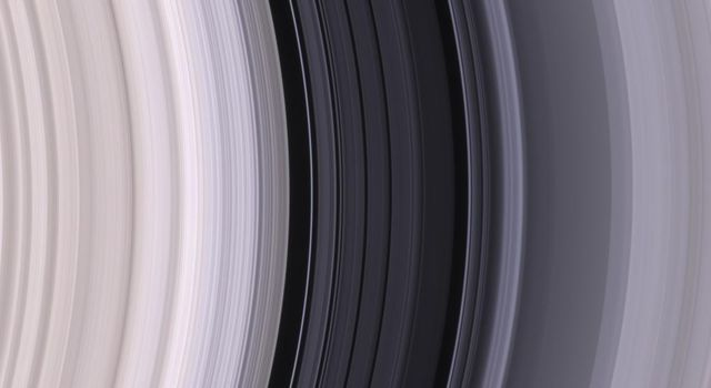 The dark Cassini Division, within Saturn's rings, contains a great deal of structure, as seen in this color image from NASA's Cassini spacecraft, taken on May 18, 2005.