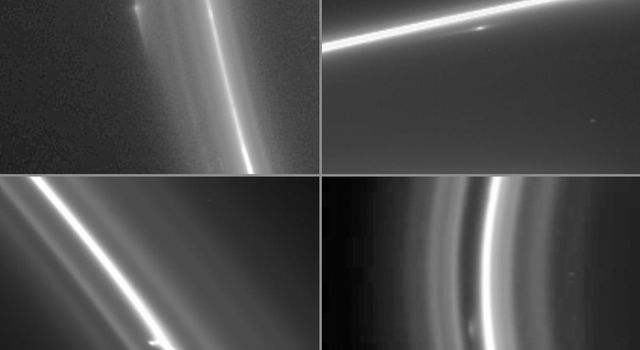 This montage of four enhanced NASA Cassini narrow-angle camera images shows bright clump-like features at different locations within the F ring.