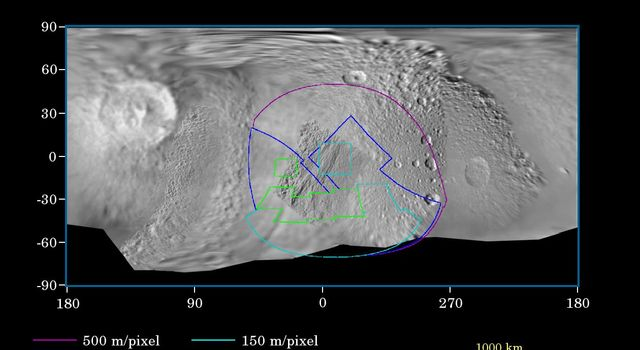 This map of the surface of Saturn's moon Tethys illustrates the regions that were imaged by NASA's Cassini during the spacecraft's close flyby of the moon on Sept. 24, 2005.
