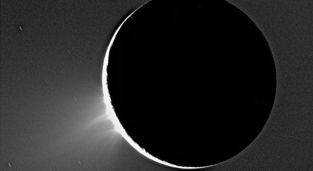 Recent Cassini images of Saturn's moon Enceladus backlit by the sun show the fountain-like sources of the fine spray of material that towers over the south polar region. This image was acquired by NASA's Cassini spacecraft on Nov. 27, 2005.
