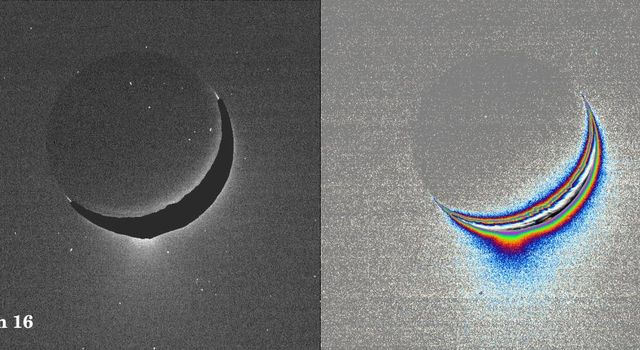 A fine spray of small, icy particles emanating from the warm, geologically unique province surrounding the south pole of Saturn's moon Enceladus was observed in NASA's Cassini narrow-angle camera image of the crescent moon taken on Jan. 16, 2005.